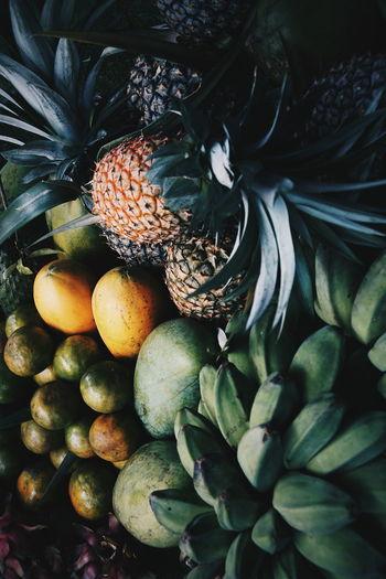 Asean Fruits EyeEm Selects Pineapple🍍 Pineapple Fruit Bannanas Bannana Mangrove Mango Mangroves Lime Limes Lime Green Pappaya Pineapple Friut Art Fruitphotography Backgrounds Full Frame Leaf Close-up
