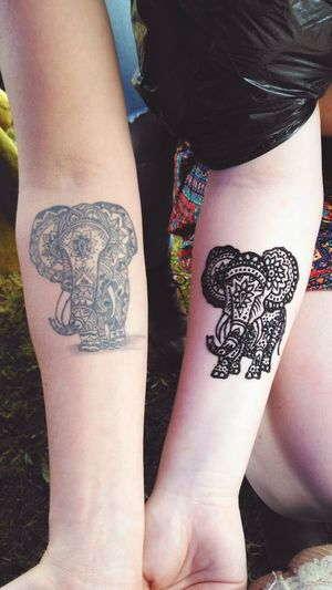 Girl on the left had a Real Tattoo of an Elephant and her Girlfriend asked me to copy it in Henna. Henna Tattoo Art Tattoos
