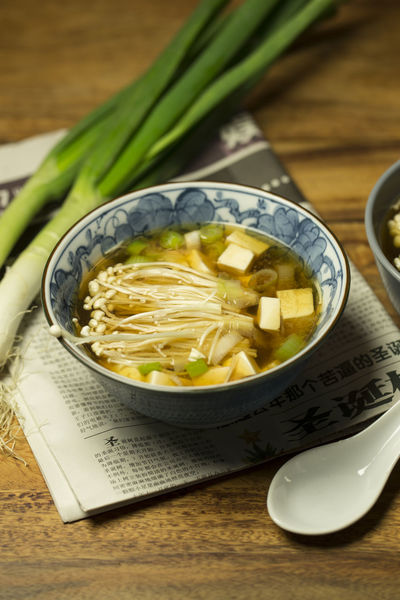 Bowl Close-up Enoki Mushrooms Food Food And Drink Freshness Healthy Eating Miso Soup Ready-to-eat Soup Still Life Table Tofu Vegetable