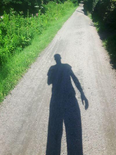 Man And Shadow Man Shadow Bike Week Bike Path Fahrradfahren Kollauwanderweg Kollau