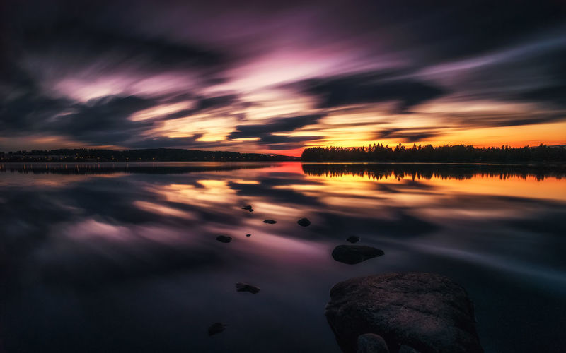 Cloudscape Beauty In Nature Cloud - Sky Idyllic Lake Nature No People Orange Color Purple Reflection Rock Rock - Object Scenics - Nature Sky Solid Sunset Tranquil Scene Tranquility Water Waterfront HUAWEI Photo Award: After Dark