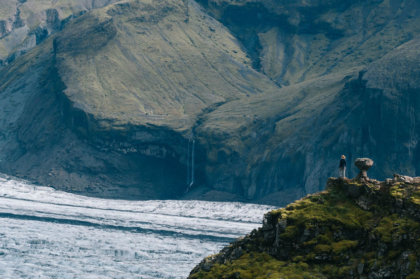 The Skaftafellsjökull in Iceland. Iceland Adult Adventure Beauty In Nature Cliff Climbing Cold Temperature Day Exploration Hiking Landscape Mountain Nature One Man Only One Person Outdoors People Scenics Sea Skaftafell Skaftafellsjökull Snow Standing Water Waterfall