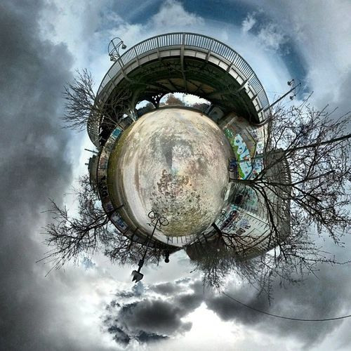 Back from the dentist and cycling under bridges Berlin Panosphere Tinyworld Pankow