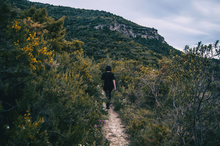 A girl hiker behind her back walking on a mountain path in nature