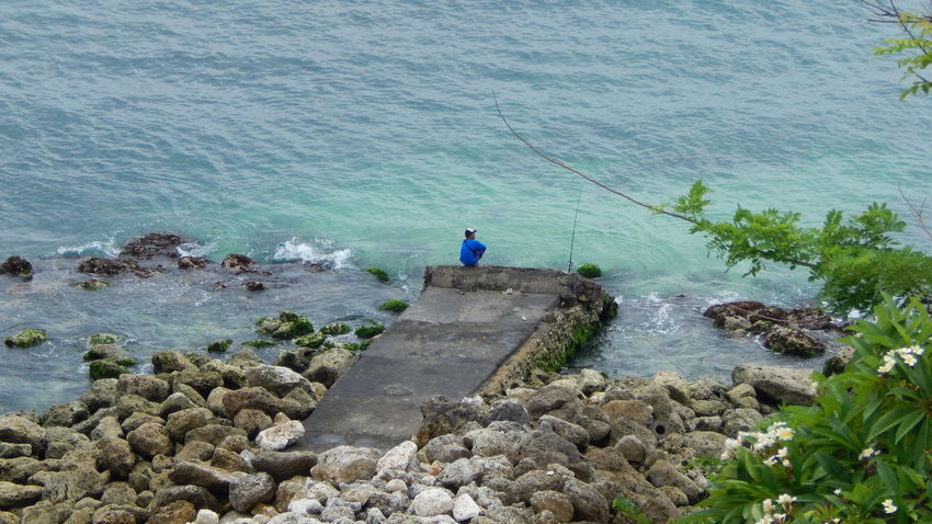 Bali Beauty In Nature Fishing High Angle View Nature One Person Outdoors Real People Sea Water EyeEmNewHere Be. Ready.