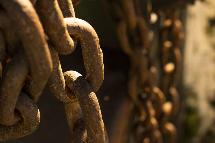 Close-up of rusty chains