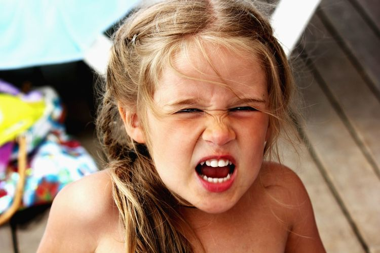 Rage One Person Portrait Looking At Camera Front View Child Childhood Anger Children Only Day Close-up Human Face Outdoors Blond Hair One Girl Only Fury