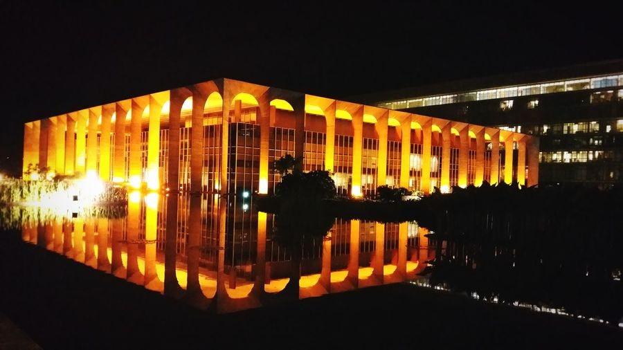 Palácio do Itamaraty (Itamaraty Palace) City Illuminated Black Background Reflection Symmetry Architecture Sky Building Exterior Built Structure Office Building Cityscape Urban Scene Settlement Downtown