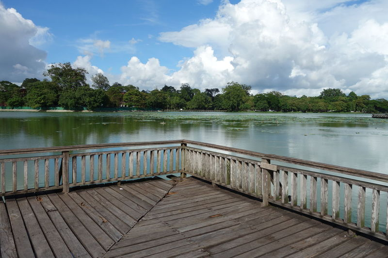 Kandawgyi Park Wooden Bridge Yangon Beauty In Nature Cloud - Sky Corner Day Kandawgyi Lake Myanmar Nature No People Outdoors Park Scenics Sky The End Tranquil Scene Tranquility Tree Water