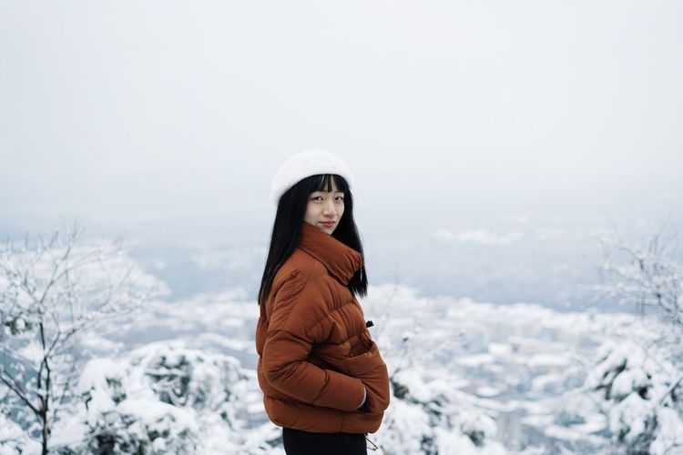 Portrait Of A Woman Portrait Girl ThatsMe Winter Snow Cold Temperature Warm Clothing Young Women One Person Nature Lifestyles Looking At Camera Standing Leisure Activity Go Higher