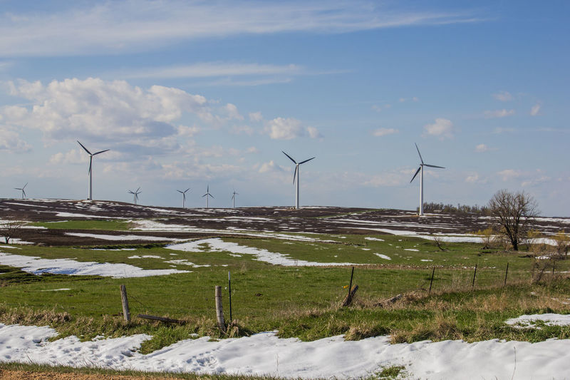 Blue Sky Canon60d Canonphotography Cloud Day Fence Field Fuel And Power Generation Grass Hill Landscape Outdoors Pasture Renewable Energy Rolling Hills Rural Scene Sky Snow Snowdrift Spring Wind Energy Wind Farm Wind Power Wind Turbine Windmill