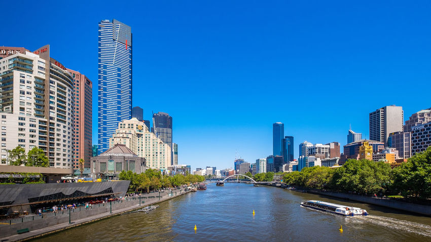 Beautiful day on the Yarra River Architecture Built Structure City City Life Cityscape Clear Sky Melbourne Melbourne City Modern Office Building River River View Skyline Tall Tower Urban Wide Angle Yarra Yarra River