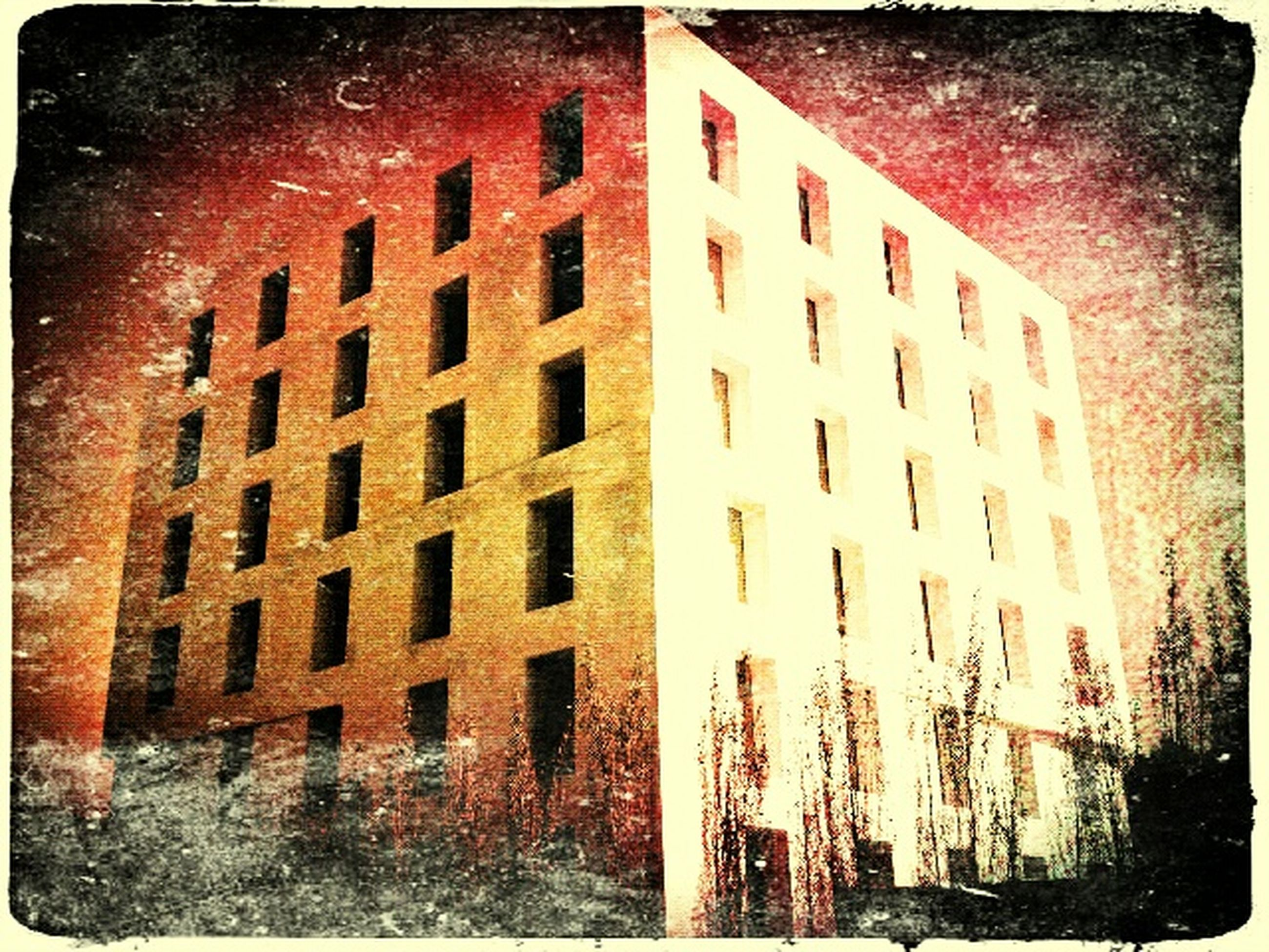 transfer print, auto post production filter, building exterior, architecture, built structure, low angle view, sky, building, window, city, old, outdoors, residential building, residential structure, abandoned, no people, day, damaged, house, panoramic