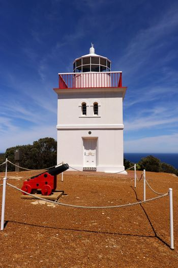 Cape Borda Lighthouse on Kangaroo Island was built in 1858 and is the only square stone lighthouse in South Australia. Architecture Built Structure Building Exterior Sky Building Tower Nature Day Lighthouse No People Cloud - Sky Red Outdoors Safety Blue Australia Travel Photography Travel Destination Tourist Attraction  Historical Building Security Marine Safety Maritime Structure Guidance Historic Building