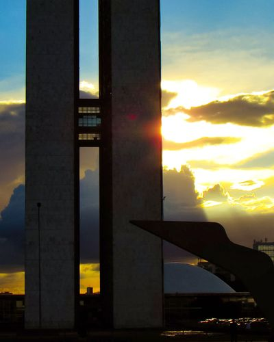 Sunset Cloud - Sky Sky Business Finance And Industry Architecture Travel Destinations Built Structure No People Silhouette City Cityscape Outdoors Skyscraper Building Exterior Nature Urban Skyline Airplane Day Brasília - Brazil Photo Photography Image