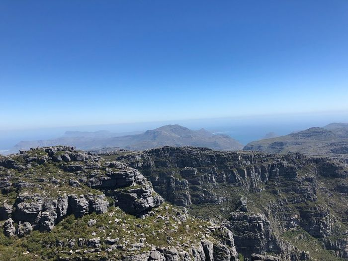 On Top of the Table Mountain, South Africa Berge Mountains And Sky Mountain Tafelberg Tablemountain Table Mountain Capetown Cape Town Kapstadt ShotOnIphone No Filter Sky Copy Space Scenics - Nature Beauty In Nature Mountain Plant No People Environment Landscape Day Mountain Range Non-urban Scene Nature Growth Blue Tranquility Outdoors Clear Sky Tranquil Scene