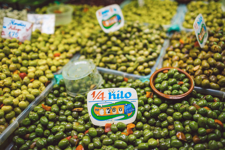 High angle view of olives for sale in market