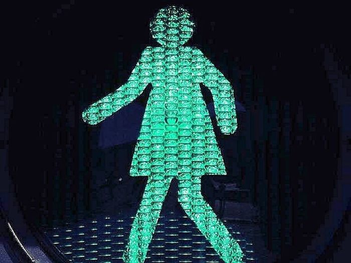 Go ! Green Color Human Representation Green Light Road Sign Outdoors Pedestrian Walkway Woman Power Women Womensday2017 Womensday Pedestrian Crossing Pedestrian Urban Walkingphotos