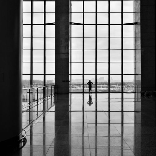 Window Indoors  Architecture Silhouette Day One Person Full Length One Man Only Adults Only Only Men Hefei, China Huawei P9 Photos Street Photography Light And Shadow City Life