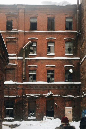 Architecture Outdoors Snow Brick Wall красный треугольник завод промзона Factory