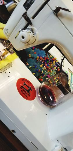 Wine Wineglass Focus On The Story High Angle View Close-up Art Studio Sewing Machine Art And Craft Equipment Sewing