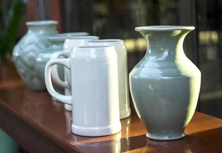 Vases on table
