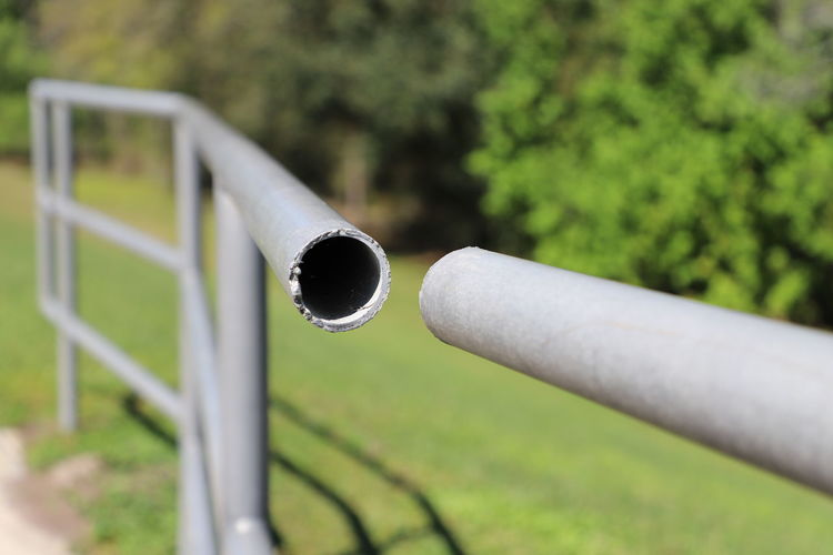 Abstract image of gap in fence handrail