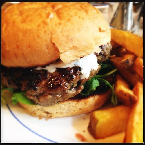 Lamb burger with triple cooked chips Food
