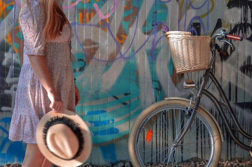 Urban Scene Adult Art And Craft Basket Bicycle Bicycle Basket Clothing Day Graffiti Land Vehicle Mode Of Transportation One Person Outdoors Real People Street Street Scene Streetphotography Transportation Travel Wall - Building Feature Wheel Women Urban Fashion Jungle #urbanana: The Urban Playground