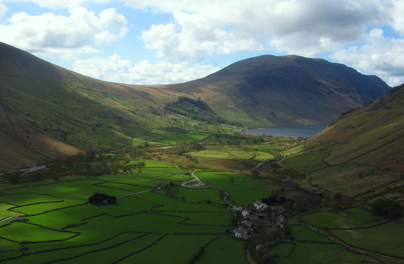 Lake District Aerial View Beauty In Nature Cloud - Sky Day Fields Green Color Green Color Idyllic Lake Lake District Landscape Mountain Nature No People Outdoors Perfect Scenics Sky Tranquil Scene Tranquility Tree Valley