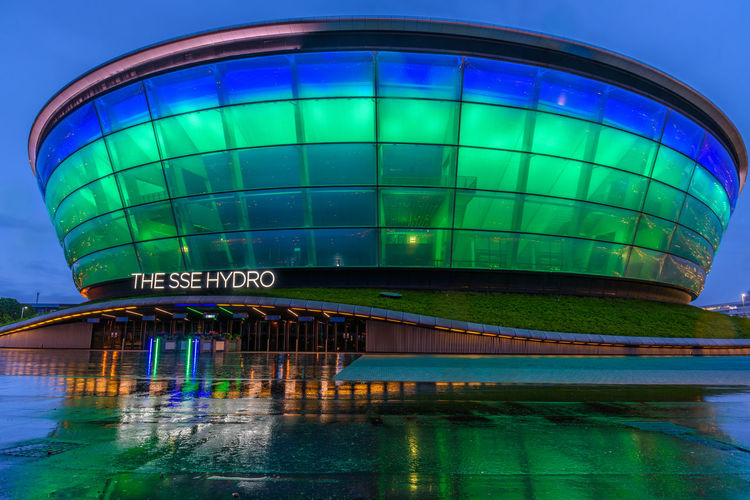 Scotland Architecture Blue Bridge - Man Made Structure Building Exterior Built Structure City Clear Sky Green Color Illuminated Modern Night No People Outdoors Reflection Sky Sse Hydro Water