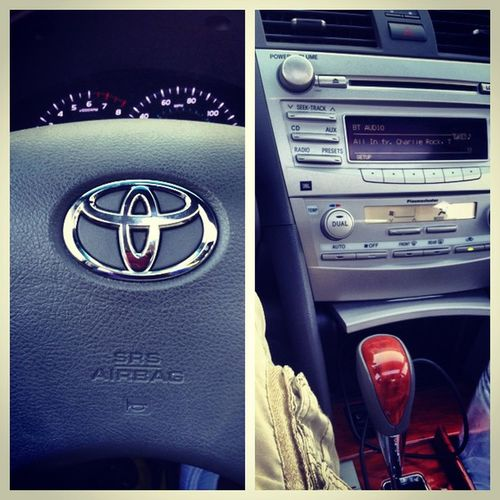 Chillin in my new whip thang CamryXLE JBLSounds Woodgrain Bluetooth Wireless Blessed Humbled now playing Vampin' Capo