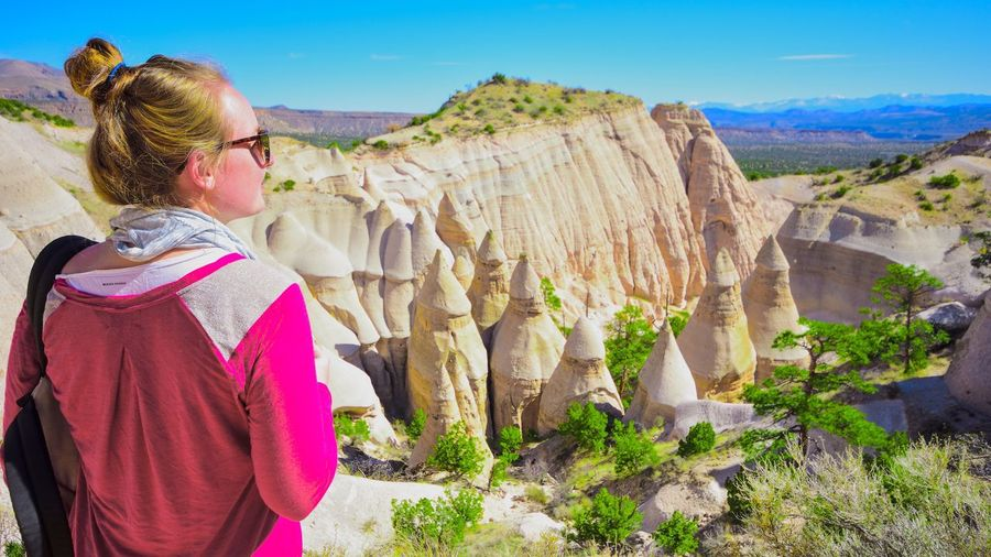 Rear View Of Woman Standing Against Kasha-Katuwe Tent Rocks National Monument