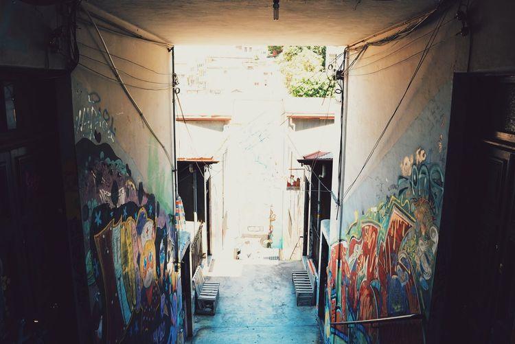 Narrow alley along walls