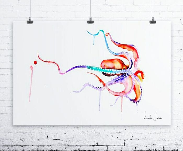 Watercolor Naturelovers Watercolours Rainbow Colorful Art Underthewater  Octopus Underthesea Oceanlife