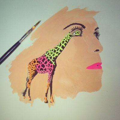 Humanimal Giraffes Drawing Watercolours Art Animals