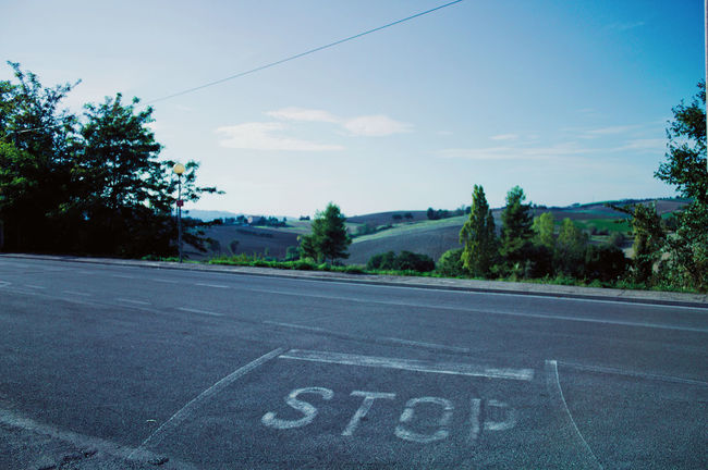 STOP Sky And Clouds The Week On EyeEm Asphalt Blue Day Landscape Nature No People Outdoors Road Road Marking Sky Stop Stop Line Transportation Tree