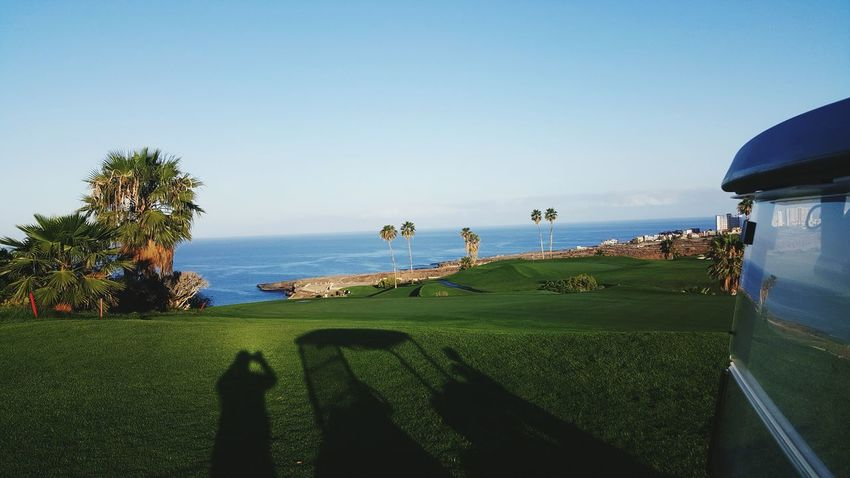 Golf Shadows In The Morning Landscape Golf Course Tenerife. Costa Adeje Golf Course View Golf Course And Sea Golf ⛳