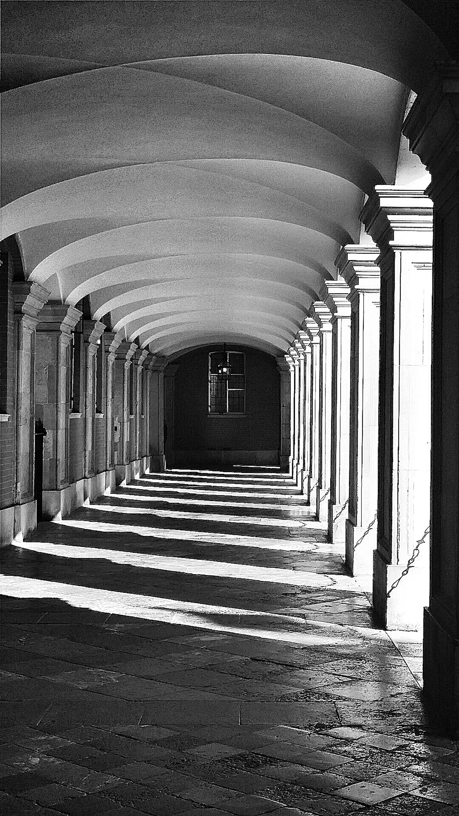 architecture, built structure, the way forward, indoors, corridor, diminishing perspective, architectural column, colonnade, in a row, column, vanishing point, ceiling, empty, building, arch, building exterior, steps, absence, wall - building feature, no people