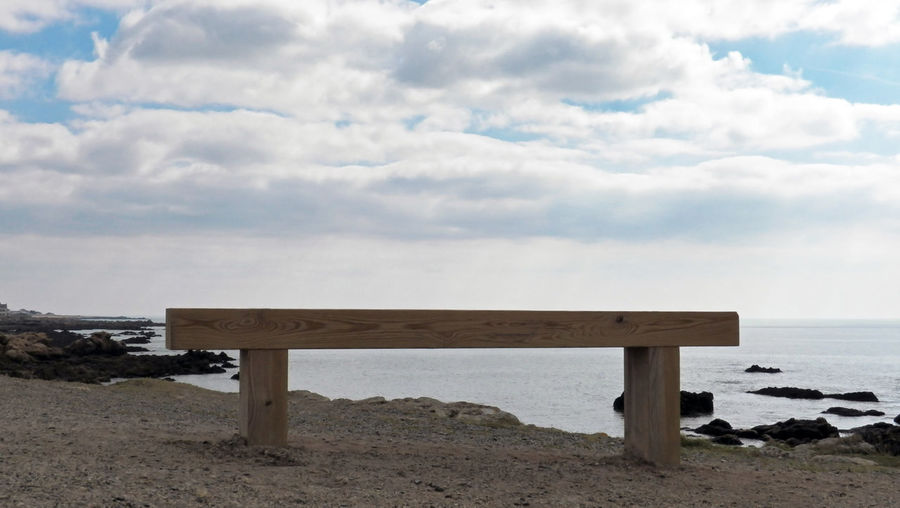 Simple Bench Ocean View Wood - Material Simplicity Coastline Clouds And Sky Water Horizon Over Water Ocean Outdoors Landscape 16x9 Horizontal Full Lenght In France