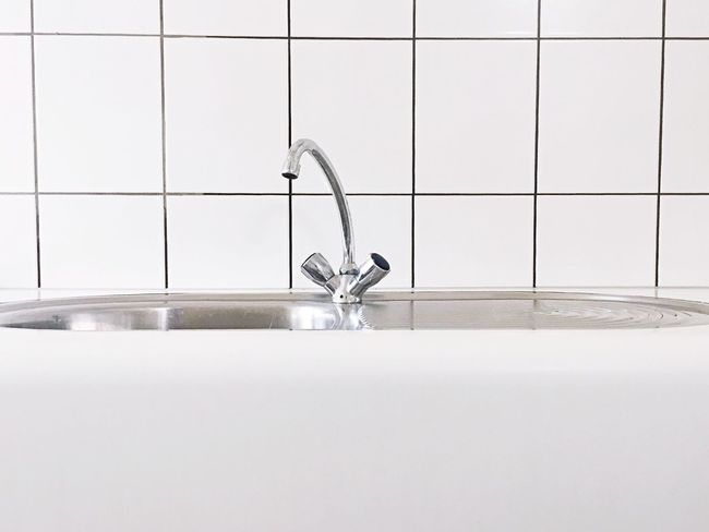 Standard sink and faucet Faucet Sink Household Objects Household Kitchen Interior Clean Stainless Steel  Tiling