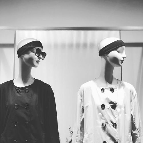 Female mannequins in store