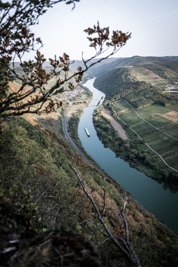 Tree Water Plant Beauty In Nature Tranquility Scenics - Nature Nature Tranquil Scene Day Environment No People Road Landscape High Angle View Land River Outdoors Transportation Non-urban Scene Mosel Mosel River In Germany Mosel Valley Moselschleife