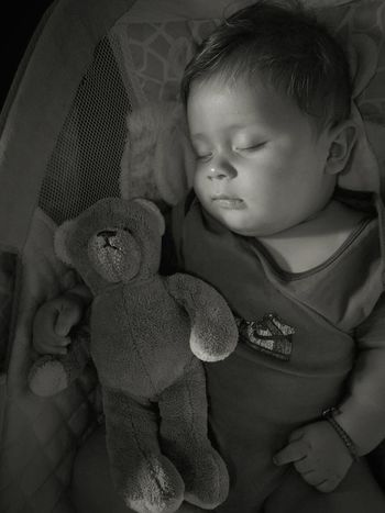 Baby Childhood Teddy Bear Toy Happiness One Person Black And White Blackandwhite Bautiful Infant Photography Babies Only Babyhood Mexico Infancy The Portraitist - 2017 EyeEm Awards The Photojournalist - 2017 EyeEm Awards Out Of The Box Place Of Heart