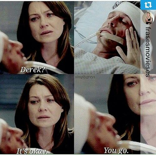 """Derek? It's okay, you go..."" 😭😭 Derekshepher We Miss You greysanatomy season11 tragedy cantbelieveit sorry meredithgrey sad neverbethesame lost anatomiadegrey Repost @frasesmovieses ・・・ 😭😭😭😭😭😭😩"