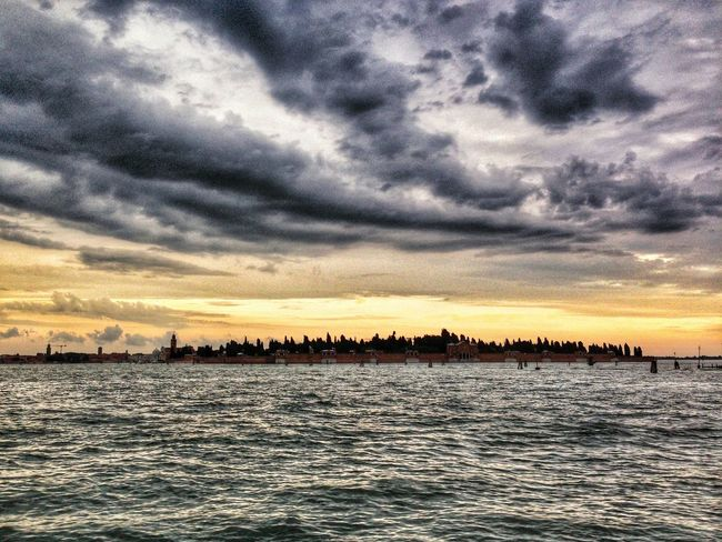 Water Sunset Sky Sea Nature Scenics Cloud - Sky Outdoors No People Beauty In Nature Nautical Vessel Day Cemetery San Michele Ezra Pound Venice Cemetery Waves Lagoon Light Orange Magazine The Great Outdoors - 2017 EyeEm Awards Be. Ready.