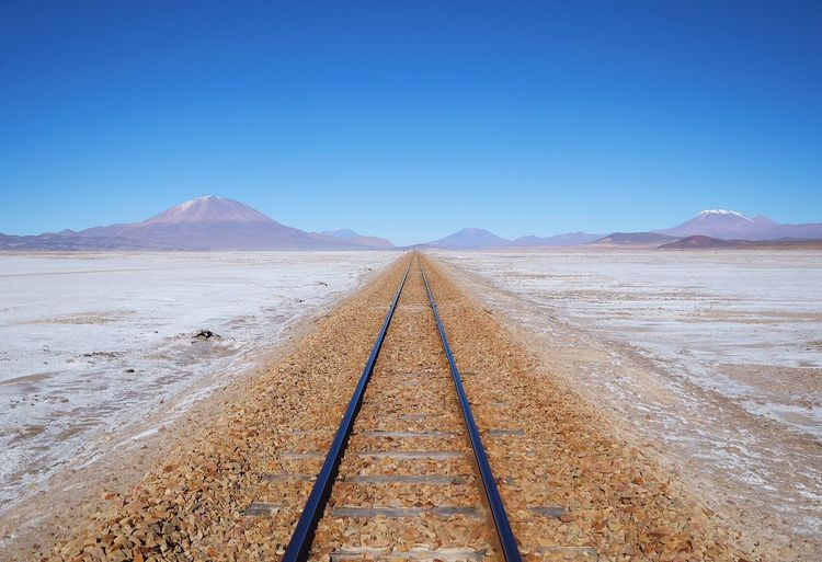 Railway Desert No People Train Blue Sky Bolivia Adventure Salt Flat Uyuni Landscape Lonely Dry Arid Climate Train Tracks Railway Empty