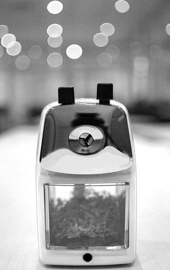 Black And White Bokeh Close-up Focus On Foreground No People Office Old School Old-fashioned Pencil Sharpener