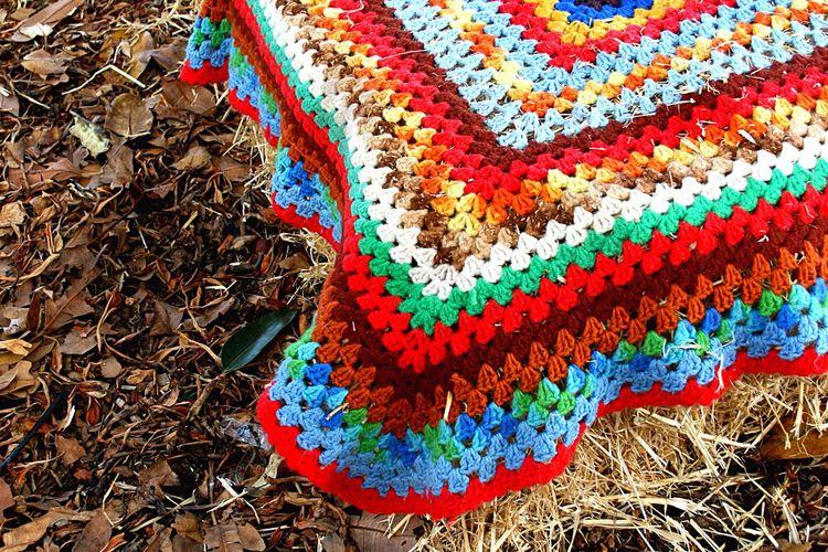 Granny rug on hay Hay Crochet Rug Granny
