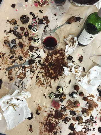Easter Ready Chocolate Chocolate Making Chocolate Workshop Messy Table Wine Wineglass Wine Glass Wine And Food